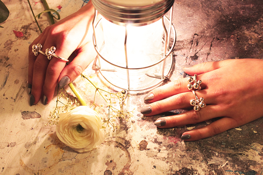 Rojah with Brugerdi SIsters Ring By Opium Jewelry