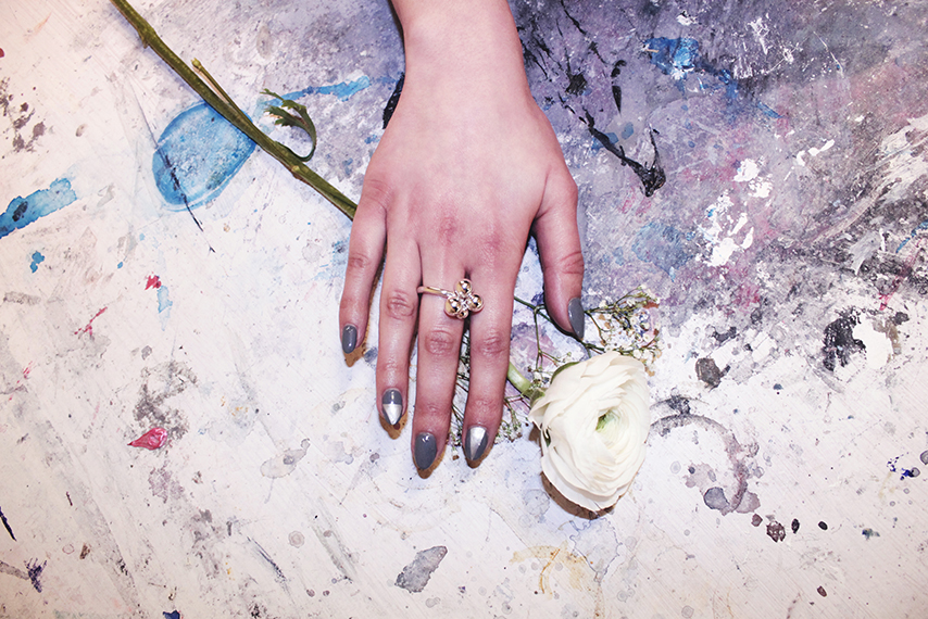 Nails by Juicy J and Brugerdi Sisters Ring by Opium Jewelry