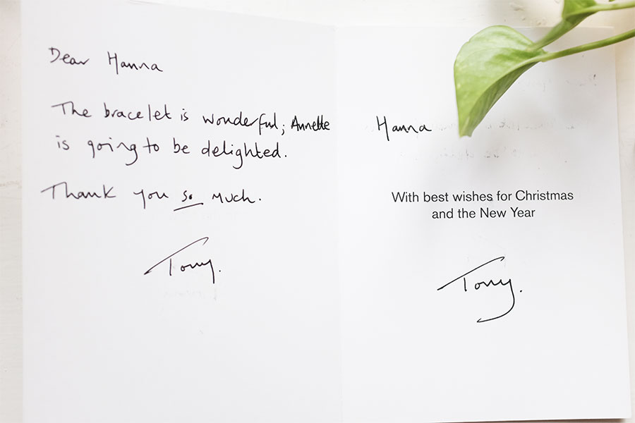 christmas card from Tony to opium jewely